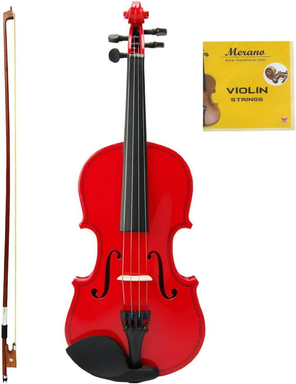 1//2, Blue Merano MV100 Student Violin with Hard Case Bow Rosin and Extra Strings
