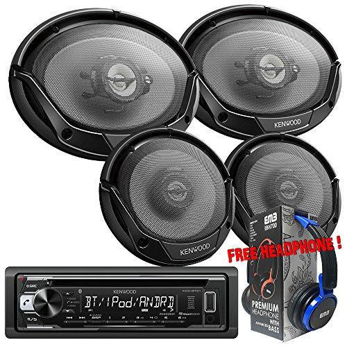 "Package Kenwood KDC-BT21 Bluetooth In-Dash CD/AM/FM Car Stereo Receiver + (1) Pair Kenwood KFC-1665S 300W 6-1/2"" 2-way + KFC-6965S 6""x9"" 400W 3-way Speakers + 1 EMB Headphone"