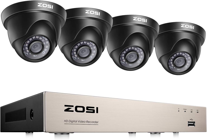 ZOSI 1080P Kit de Cámaras de Seguridad 8CH HD Grabador DVR + (4) Cámara de Vigilancia Exterior, sin Disco Duro, Visión Nocturna