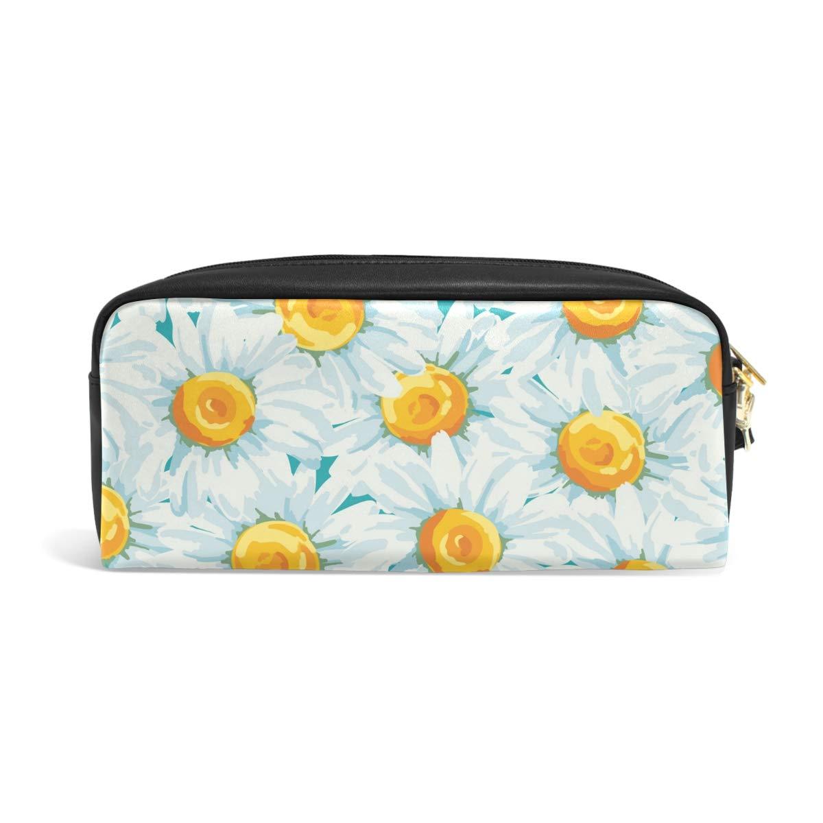 para estudiantes niñas y niños Mnsruu Estuche de piel sintética con estampado floral de Daisies con pequeños compartimentos para guardar bolígrafos cremallera