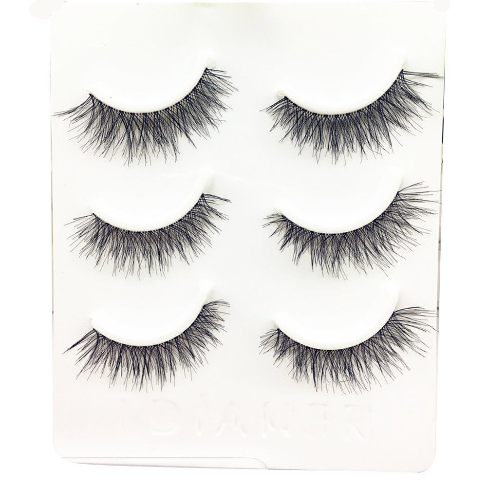 2974a8611ca Amazon.com: WEUIE Eyelashes Hot Sale! 3 Pairs Long False Eyelashes Makeup  Natural Fake Thick Black Eye Lashes: Beauty