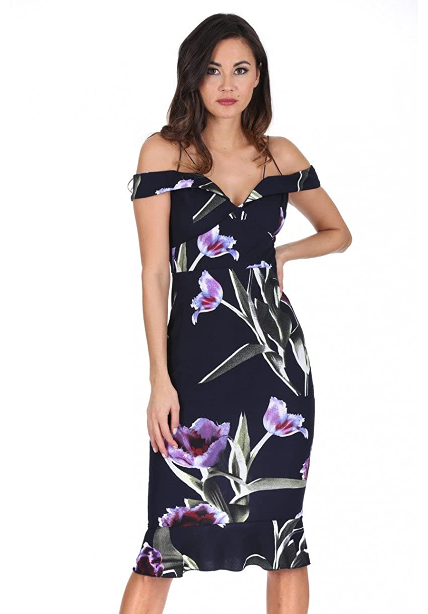 0796f4bd75d AX Paris Women's Floral Off The Shoulder Dress with Frill Detail at Amazon  Women's Clothing store: