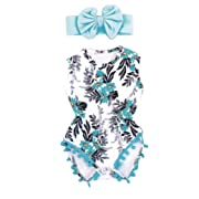 IEason Newborn Toddler Kid Baby Girl Print Romper Jumpsuit Sunsuit+Headband Clothes Set (0-3 Months, Blue)