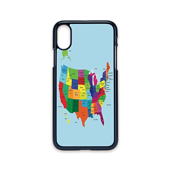 Printable Map Of Texas For Kids.Amazon Com Phone Case Compatible With Iphone X 2d Print Black Edge