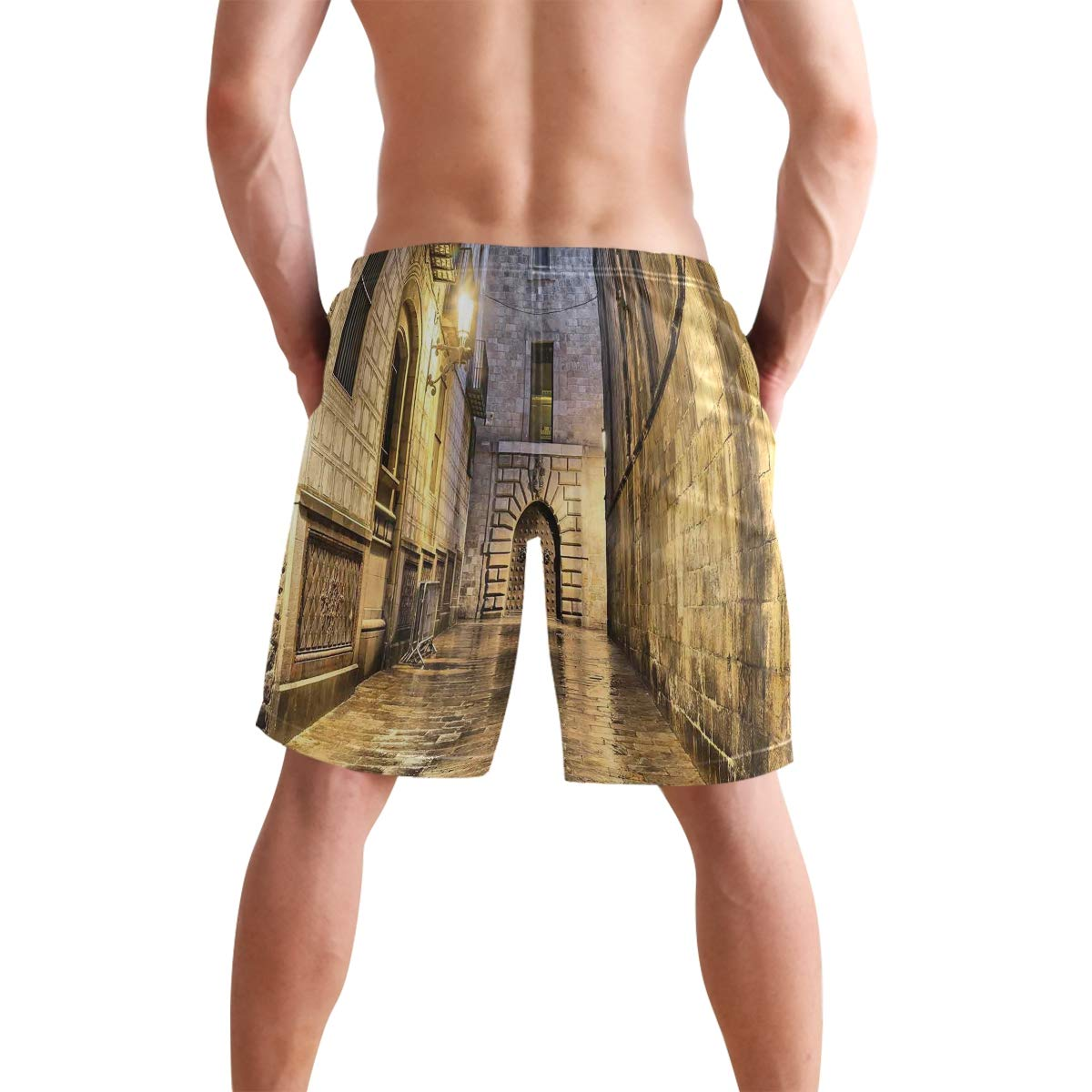 COVASA Mens Summer ShortsDark Stone Ancient Street Spain European Horror Evil