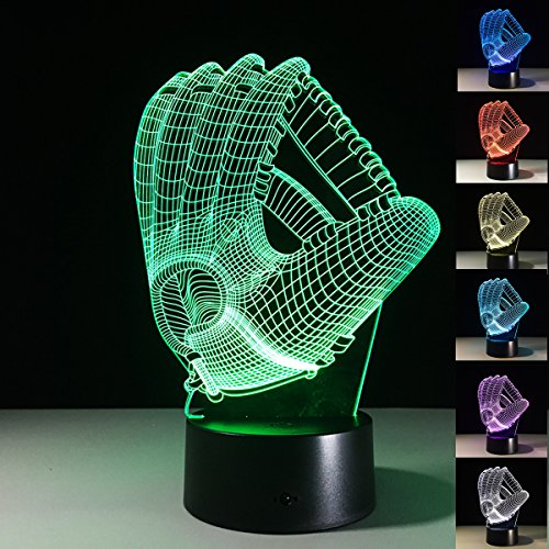 XJCKING 3D Baseball Gloves Visual Night Light Acrylic 3D LED USB 7 Color Change LED Table Lamp Xmas Toy Gift