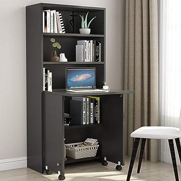 Amazoncom Tribesigns Folding Computer Desk With Storage Cabinet