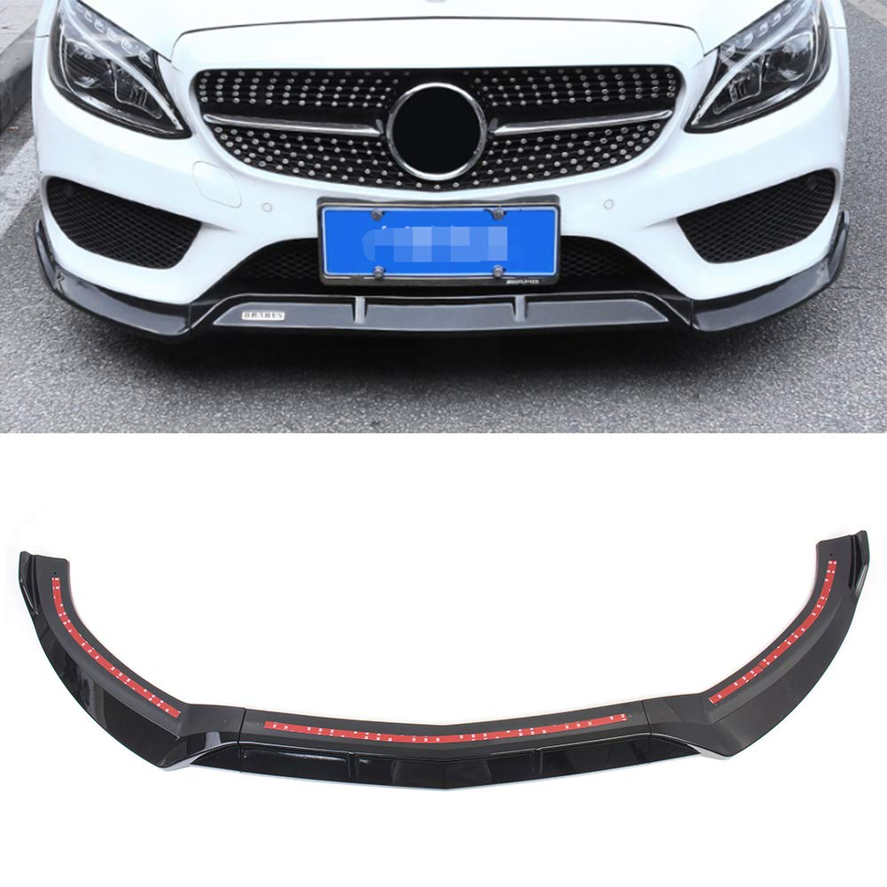 Beautylady ABS Front Bumper Lip Cover Trim 3pcs Splitter Lip Spoiler Trims Protector for Benz C-Class W205 Sport DP Style Glossy 2015-2018