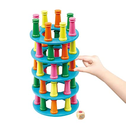 Rainbow Wood Stacking Ring Tower Building Block Education Toys 8 Layer Puzzle W