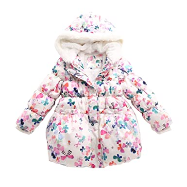 f65e518203fa Max Hsuan Little Girls  Butterfly Printed Padded Hooded Winter Down ...