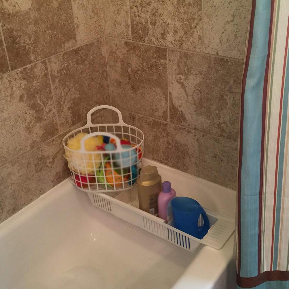 PER Adjustable Bath Toy Rack Organizer Basket Shower Caddy Holder for Bathtub Bathroom Baby Bathing Toys Storage