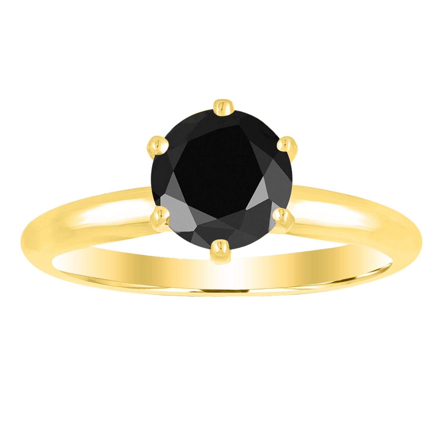 1 1/2 1.5 Carat 14K Yellow Gold Round Black Diamond Solitaire Ring (AAA Quality) by Houston Diamond District