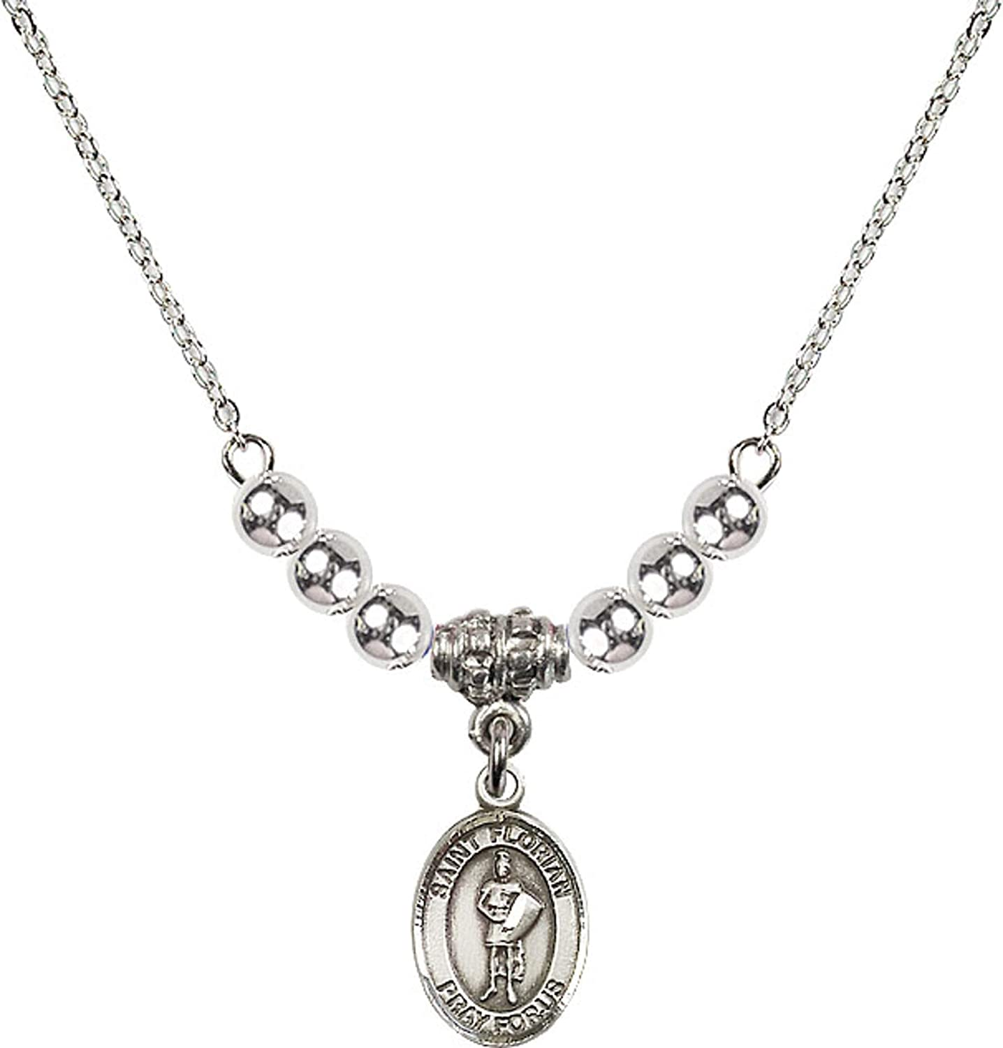 Bonyak Jewelry 18 Inch Rhodium Plated Necklace w// 4mm Sterling Silver Beads and Saint Florian Charm