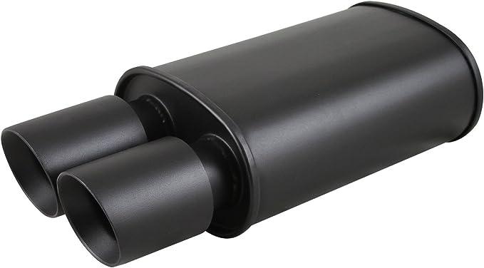 Burnout Spun-locked Exhaust Oval Muffler 3.5 Slant Tip 2.5 Inlet Black Dual Slant Tip