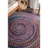 bohemian living room nuLOOM Hand Braided Bohemian Colorful Cotton Round Rug, Blue, 8'
