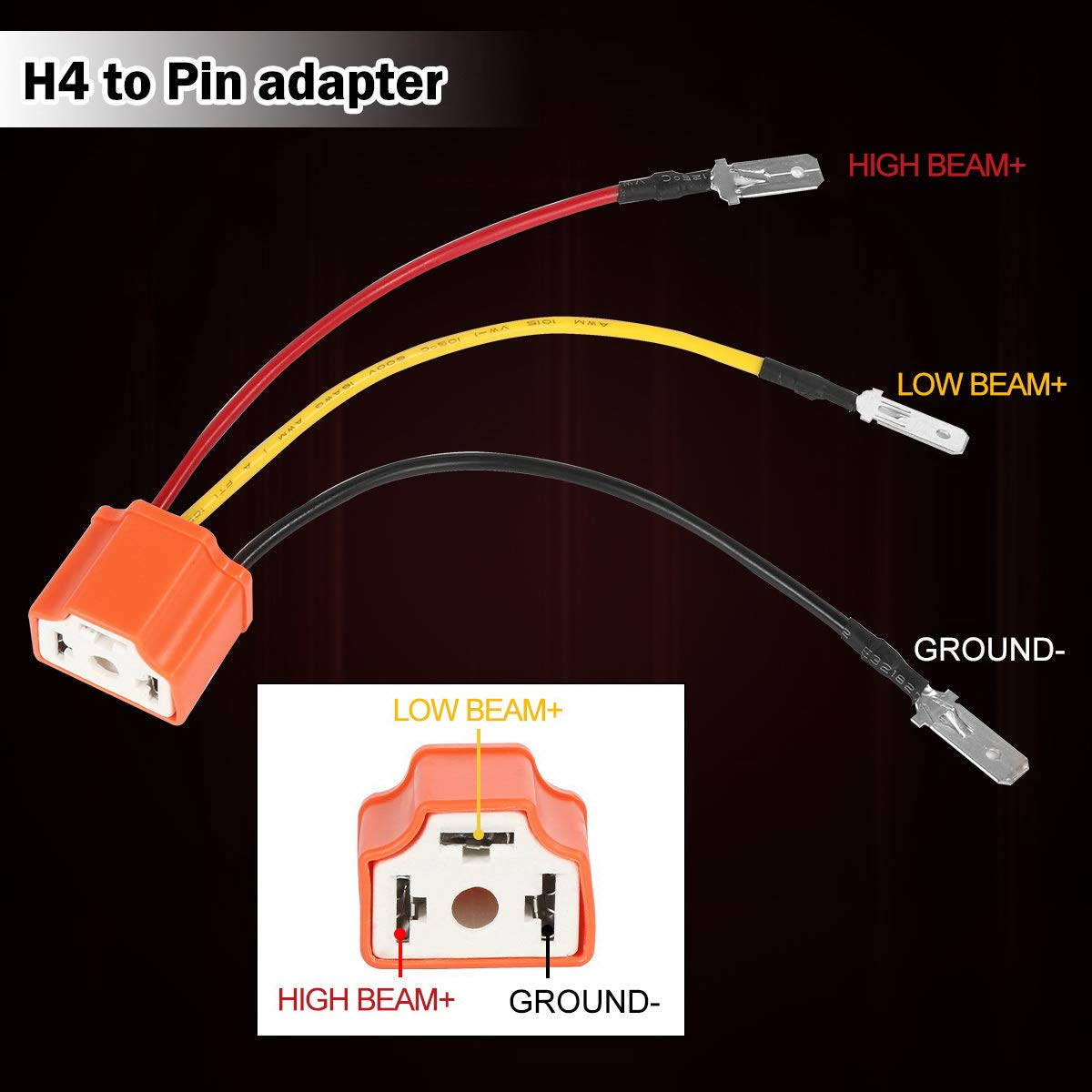Kaslight Ceramic H4 Scoket Pair Harness 4x6 Led Pin Wiring Adapters Headlights 9003 Hb2 To 3