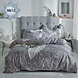 MKXI Duvet Cover Set Button Cloure Vintage Style Bedding Set Queen Bird and Flower Floral Pattern Reversible Cotton Bedroom Collection