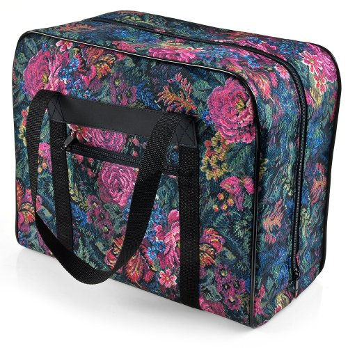 Distinctive Small Floral Pattern Premium Sewing Machine Tote Bag for 3/4 Sewing Machines such as Janome Jem Series and Singer Featherweight (Featherweight Sewing Machine)