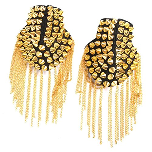 (FENICAL Pair of Rivet Tassel Chain Epaulet Fashion Shoulder Boards Badge (Gold))
