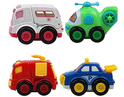 MIC Toys for Kids Set of 7 Unbreakable Friction Powered and Pull Back Automobile Car, Effective Way to Develop Their Social and Communication Skills
