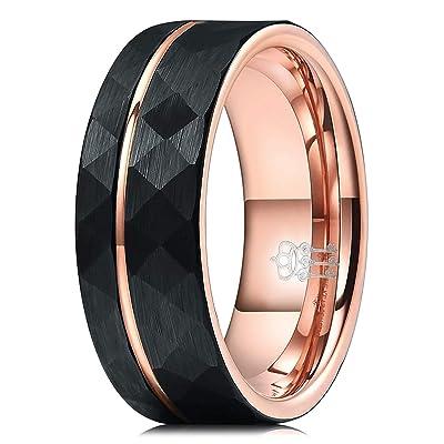 Wedding Ring 6 mm Comfort Fit Black Tungsten Polished Rose Gold Cross Striped Ring Tungsten Men/'s Ring Men/'s Ring