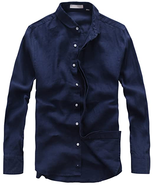 f3c2514a0620 utcoco Men's Casual Collared Invisible Button-Front Rolled Sleeve Linen  Shirts (X-Small