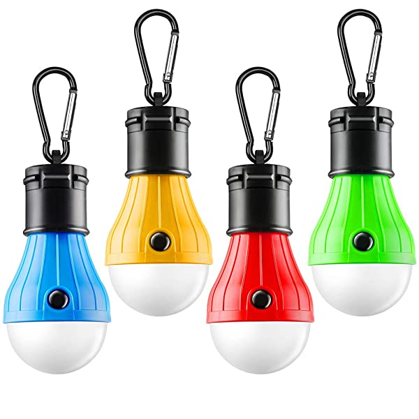 FLY2SKY Tent Lamp Portable LED Tent Light 3/4 Packs Hurricane Emergency Lights Camping Light Bulbs Camping Tent Lantern Bulb Camping Equipment for Camping Hiking Backpacking Fishing (A-4pcs) (Color: A-4pcs)