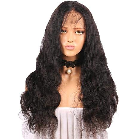 Beikoard Peluca-Rizado peluca sin pegamento pelucas llenas de encaje negro mujeres indio Remy pelo