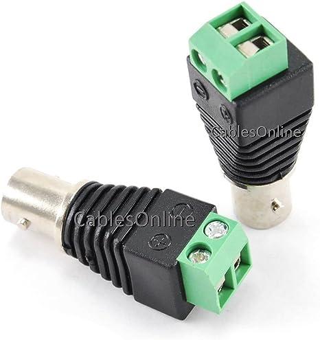 5-PACK BNC Female Plug to AV 2-Screw Terminal Block Balum Connector PL-CN02-5