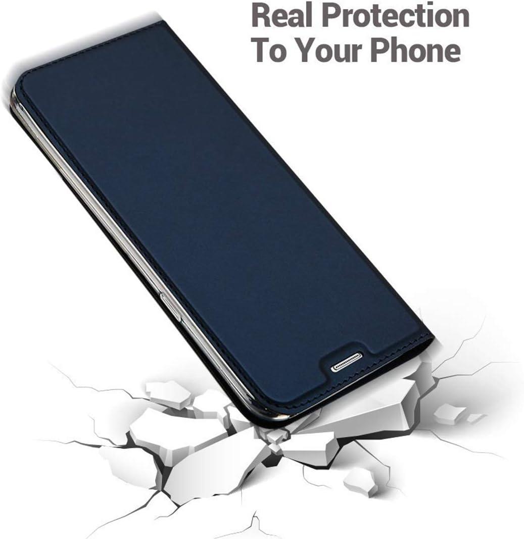 Penlicraft Coque pour Huawei P Smart 2018, Verre Tremp/é pour Huawei P Smart 2018,Ultra Mince en Cuir PU Premium Housse /à Rabat Portefeuille avec Aimant Folio pour Huawei P Smart 2018,Gris Noir