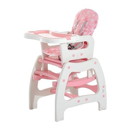 HOMCOM 3 in 1 Kinderhochstuhl Kombihochstuhl Multifunktion Babyhochstuhl mit Schaukelfunktion in verschiedenen Farben (Rosa/W