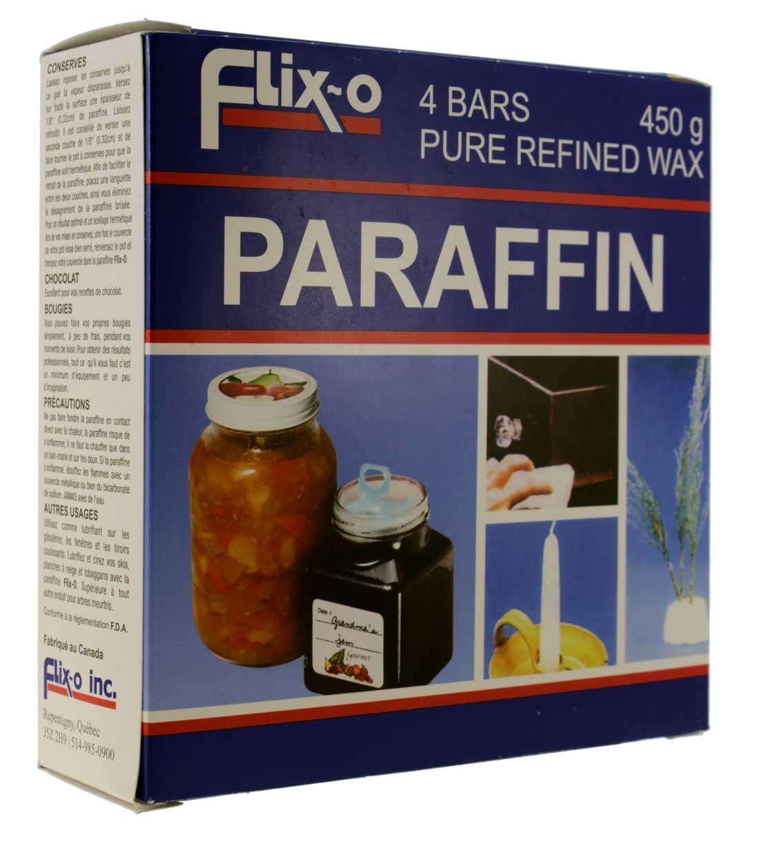 Flix-O Pure Refined Parafin Wax 4 bars 4 barres 450g // Flix-O cire paraffine pure rafin/ée 450g