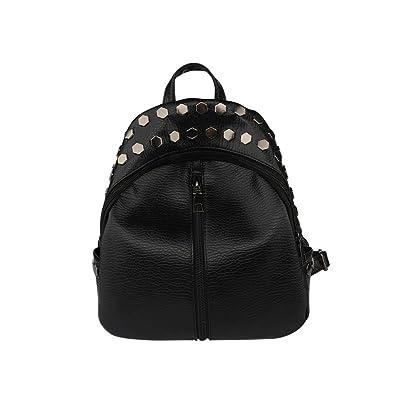 47ebc8ea29e4 Amazon.com  Women Small Backpacks Rivet Student Girls School Backpack  Fashion Rucksack Bag (Black 1)  Shoes