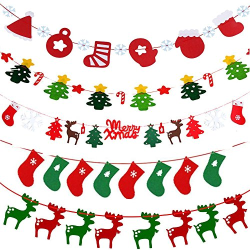 Christmas Banner Garland Xmas Bunting Flags Party Hanging Ornament Pennant Fabric Felt 5 Set Home Outdoor Decoration Props (Christmas Banner Red Green)