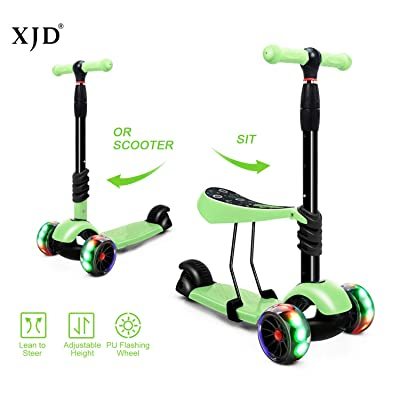 XJD Scooters for Kids Toddler Scooter with Removable Seat 3 Wheel Scooter for Boys Girls Adjustable Height PU Flashing Wheels Extra Wide Deck Scooter for Children from 2 to 8 Years Old Green : Sports & Outdoors