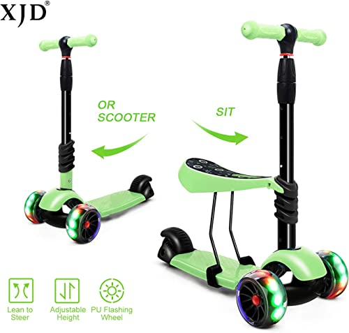 XJD Toddler Scooter with Removable Seat Scooters for Kids Scooter 3 Wheel Kick Scooters for Girls Boys Adjustable Height Extra Wide PU Flashing Wheels Scooter for Children from 2 to 8 Years Old