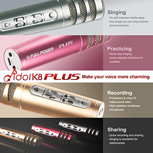 Idol K8 Plus Karaoke Singing Practice Kit | Wired | Condenser Microphone with Noise Reduction On-Ear Headphone | Carrying Case Included (Champagne Gold + HiFi Headphone) by Full Power (Image #7)