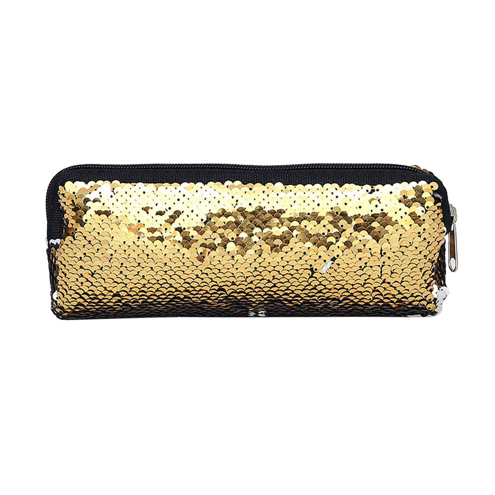 HIKO23 Mermaid Sequin Cosmetic Bag, DIY Double Color Fashion Glitter Makeup Bag, Pencil Case for Student Middle School