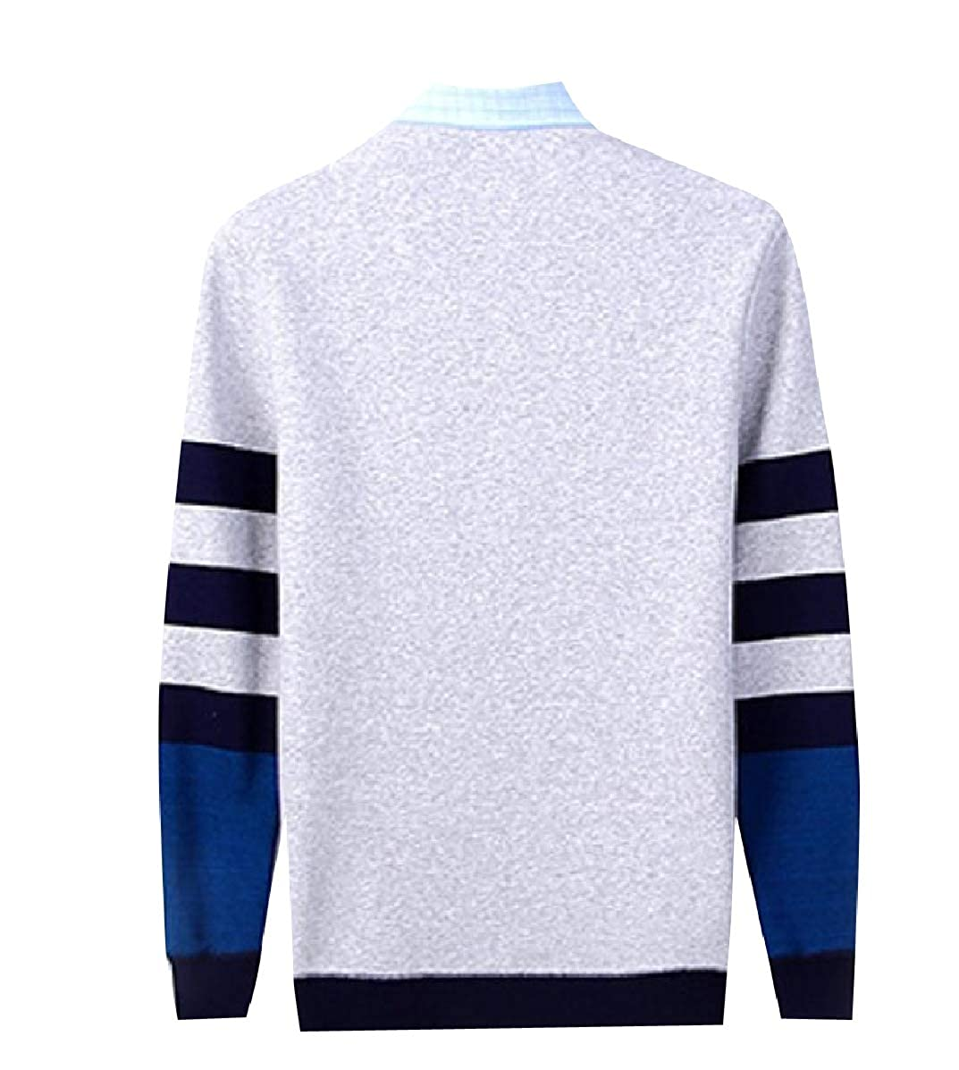 YUNY Mens Essential False Two Pieces Knitted Premium Pullover Sweaters Light Grey M
