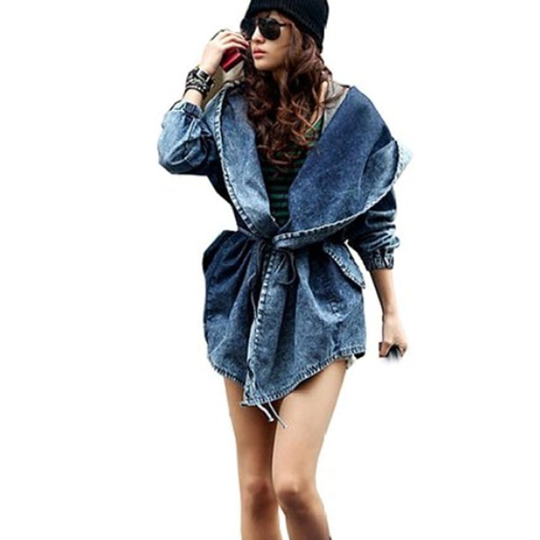LOBTY Frauen Blazer Damen Tunika schlanke Cowboy Denim Jeans Windbreaker-Jacken-Mantel Outwear Cap Kapuzen