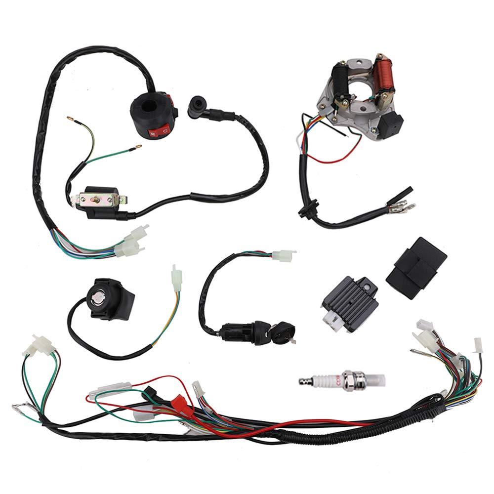 Complete Wiring Harness Loom kit Electrics Stator Engine Coil CDI Wiring Harness for 50cc 70cc 90cc 110cc 125cc 4 Stroke ATV Quad Bike Buggy by KanSmart