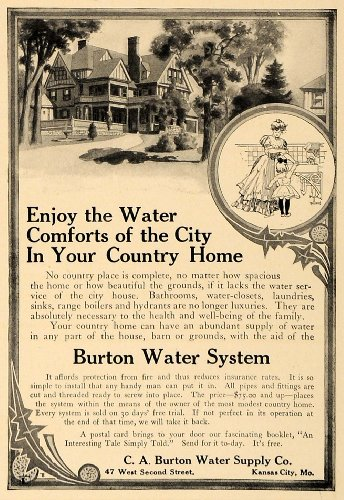Pricing System - 1907 Ad C.A. Burton Water System Country Home Pricing - Original Print Ad
