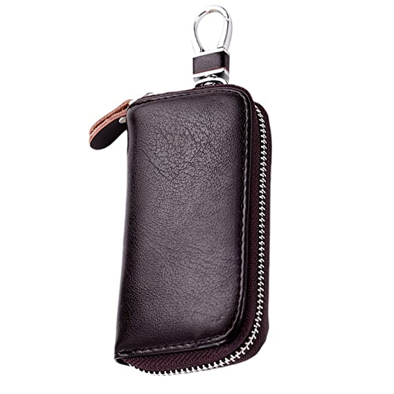 Zhhlaixing 6 Color Leather Six Key Hook Zipper Case City Car Keychain Key Holder Bag Wallet Cover with Card Holder