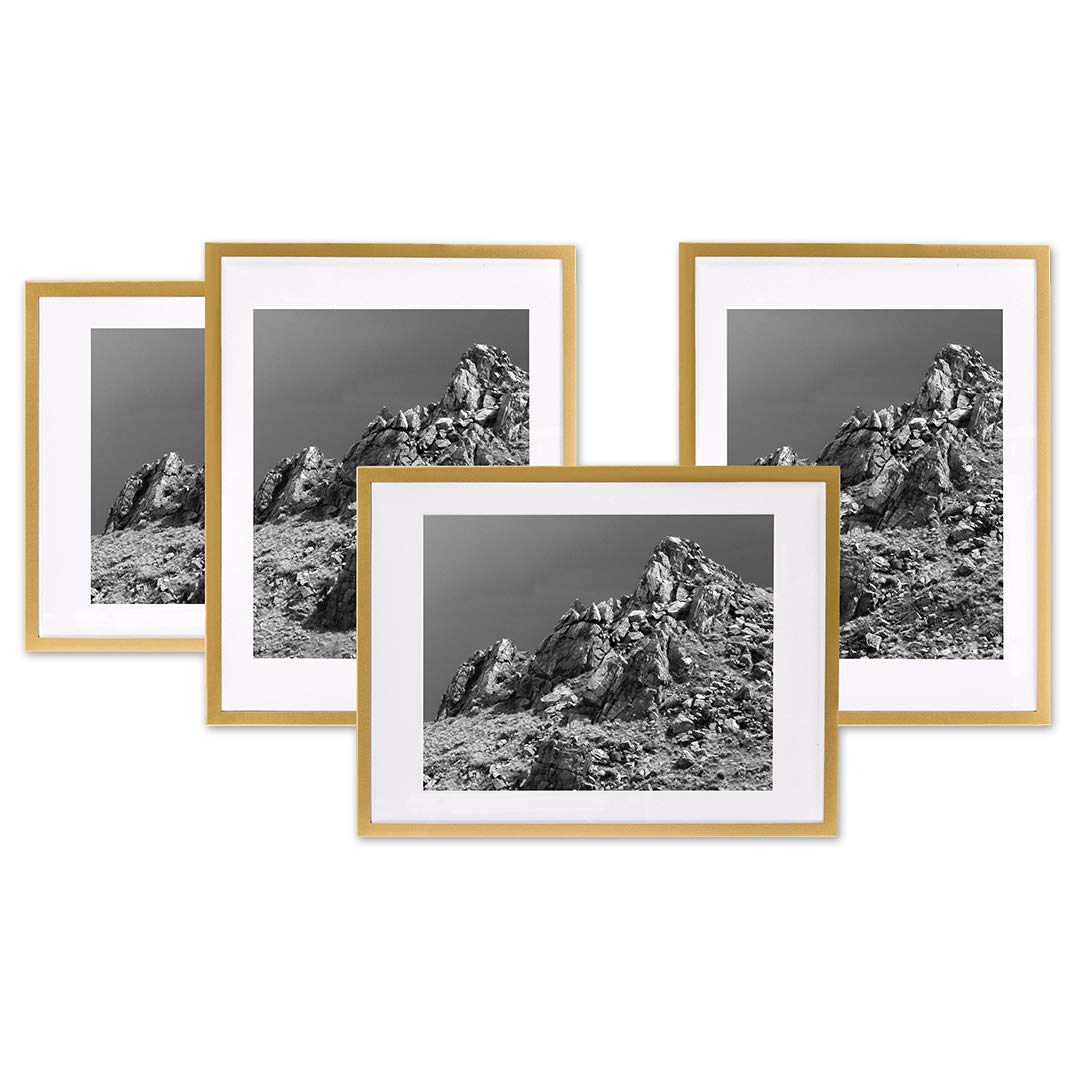 Koyal wholesale gold gallery wall frames with white mats gallery picture frame sets bulk gallery wall photo frame packs easel stand or hanging option for