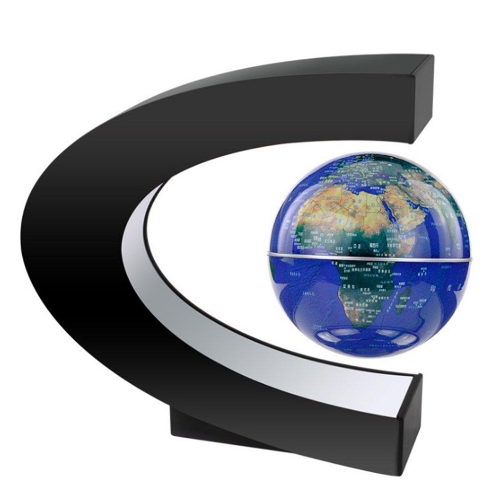MeetUs Creative Anti Gravity Floating Globe C shape Decoration Magnetic Levitation Floating Globe World Map with Colorful LED Light for Desk Decoration, Children Gifts