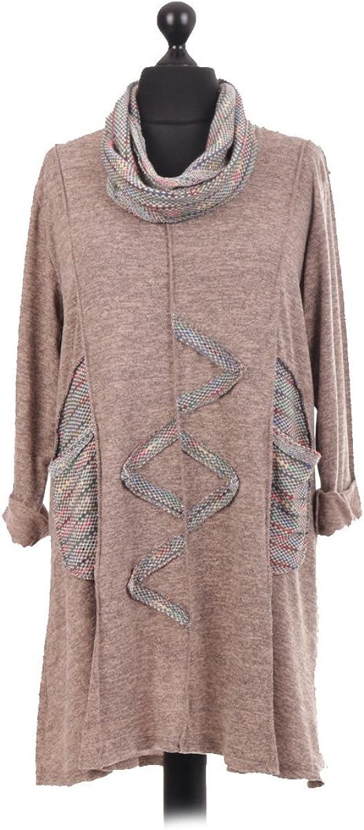 LavishFashionTown New Italian Ladies Women Zig Zag Embellished Tunic Top Dress with Scarf Plus Size Fits 14-24 Mocha