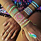 Flash Tattoos Illia Authentic Metallic Temporary Tattoos 4 Sheet Pack (multicolor) - Includes Over 34 Colorful Premium Waterproof Tattoos