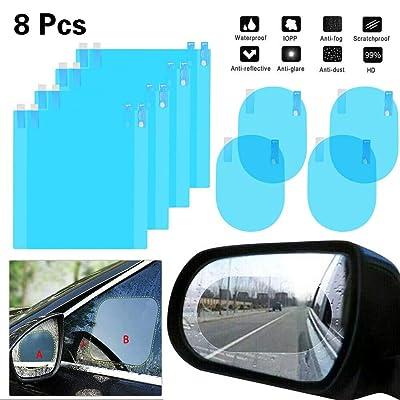 Anti Fog Film Car Rearview Car Rain Mirror Film Proof Protective for Cars Blind Spot Mirror Car Mirror Sticker Transparent HD Glass Car Accessories (8 Car Mirror Film, Multi Size): Automotive