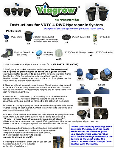 New Viagrow VDIY Deep Water Hydroponic 4 Plant System Hydroponic System 4