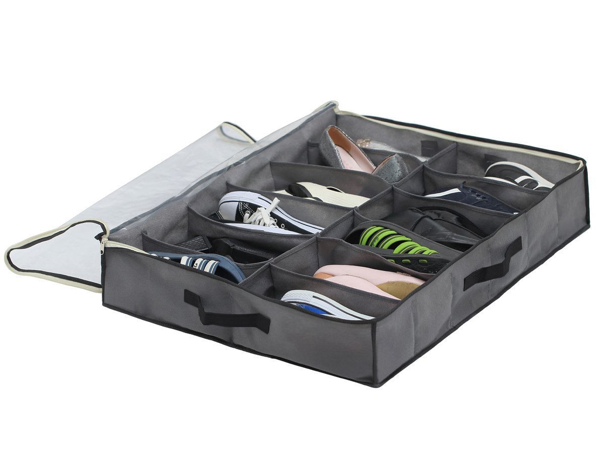 Sami Time 12 Pairs Under Bed Shoe Organizer Closet Storage Solution Organizer Box with Front Zippered Closure-2 Pack by Sami Time (Image #2)